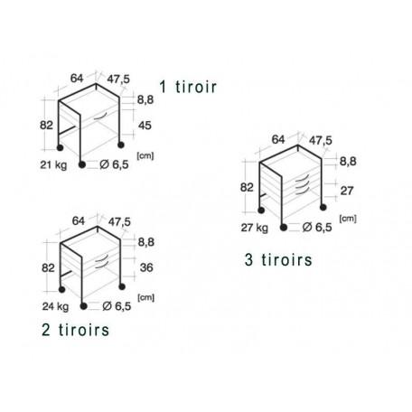 Guéridons tiroirs bati chrome