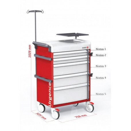 Charriot d'urgence avec équipement complet